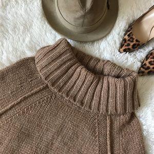 Ann Taylor Loft Tan Chunky Cowl-neck Sweater